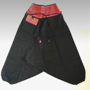 Blank LowCut Harem Pants with Red Trim and pocket.